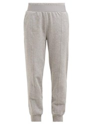 Adidas By Stella Mccartney Essential Cotton Blend Jersey Track Pants Grey