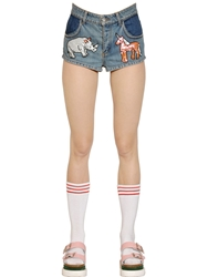 Au Jour Le Jour Sequined Patches On Cotton Denim Shorts Blue