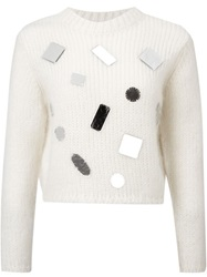 Le Ciel Bleu Sequin Embellished Sweater White