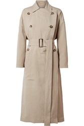 Michael Kors Collection Linen And Silk Blend Trench Coat Beige Gbp