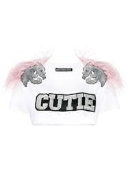 Marco Bologna Cutie Feather Crop Top White
