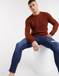 Brave Soul Textured Knitted Sweater Brown