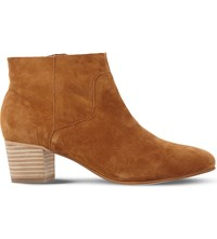 Steve Madden Allday Suede Western Ankle Boots Tan Suede