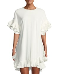 Gracia Pleated Ruffle Trimmed Shift Dress White