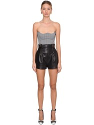 Versace Houndstooth Stretch Cotton Bustier White Black