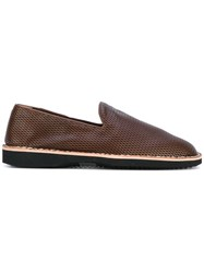 Maison Martin Margiela Laser Cut Loafers Men Leather Rubber 41 Brown