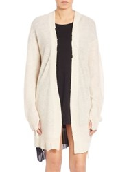 Rta Serge Distressed Long Cardigan Pearl