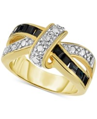 Victoria Townsend Diamond 1 10 Ct. T.W. And Sapphire 1 Ct. T.W. Knot Ring In 18K Gold Plated Sterling Silver