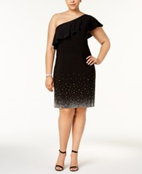 Msk Plus Size Beaded One Shoulder Shift Dress Black