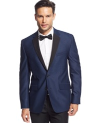Kenneth Cole New York Blue Textured Evening Slim Fit Sport Coat