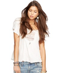 Denim And Supply Ralph Lauren Lace Trim Boho Top Antq Crm
