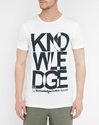 Knowledge Cotton Apparel White Knowledge Logo Organic Cotton Round Neck T Shirt