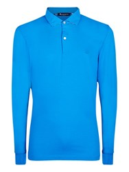Aquascutum London Kendrick Long Sleeve Polo Shirt Guilloche Blue