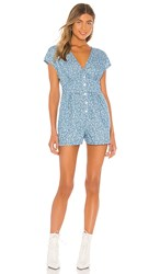 Minkpink Jaye Chambray Romper In Blue. Blue And White