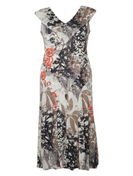 Chesca Leaf Print Jersey Dress Grey