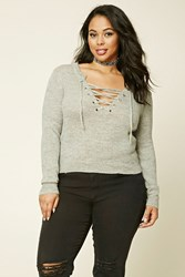 Forever 21 Plus Size Lace Up Sweater Heather Grey