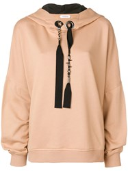 Dorothee Schumacher Beaded Ribbon Hoodie Nude And Neutrals