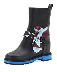 Fendi Flat Bow Buckle Boot Black Blue