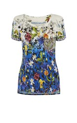 Karen Millen Stud Pocket Floral T Shirt Blue Multi