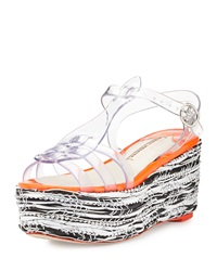 Sophia Webster Suki Jelly Platform Wedge Sandal Crystal Vinyl