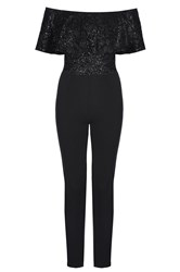 Quiz Black Glitter Bardot Frill Jumpsuit Black