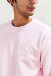 Urban Outfitters La Dodgers Embroidered Crew Neck Sweatshirt Pink