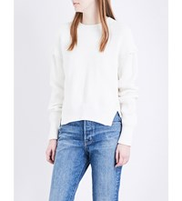 Helmut Lang Button Detail Ribbed Knit Jumper White