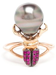 Daniela Villegas Ruby And Pearl Beetle Ring Red
