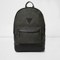 River Island Mens Khaki Green Faux Suede Backpack