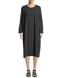 Eskandar Crewneck Long Sleeve Pima Cotton Jersey T Shirt Dress W Pleated Front Panel Charcoal