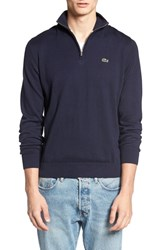 Lacoste Men's Quarter Zip Sweater Navy Blue