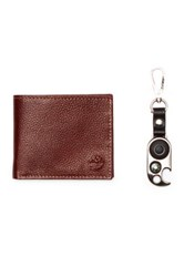 Timberland Sportz Billfold Leather Wallet And Key Fob 2 Piece Set Brown