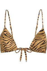 Vix Swimwear Tiger Print Triangle Bikini Top Sand