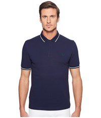 Fred Perry Slim Fit Solid Plain Polo Carbon Blue White Ivy Men's Short Sleeve Pullover