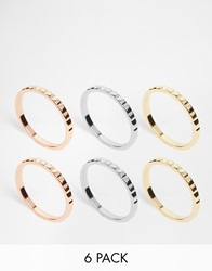 Orelia Brushed Metal Mixed Multi Ring Pack Mixedplate