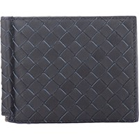 Bottega Veneta Men's Money Clip Bifold Wallet Navy