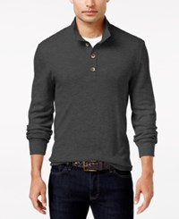 Club Room Men's Waffle Knit Thermal Mock Neck Shirt Only At Macy's Charcoal Heather