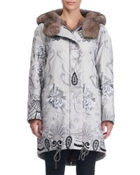 Gianfranco Ferre Reversible Fur Lined Embroidered Stroller Coat Brown Gray