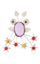 Rodarte Nickel Floral Burst Ring With Amethyst Glass Cabochon Details Purple