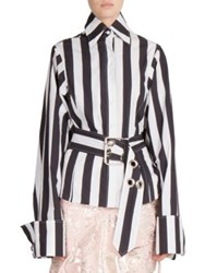 Marques Almeida Belted Striped Shirt Black White