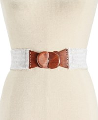 Inc International Concepts Beaded Stretch Belt Only At Macy's White