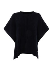 Armani Jeans Knit Poncho Gold Buttons Navy