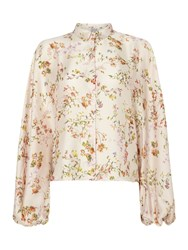 Replay Floral Shirt With Classic Collar Multi Pastel Multi Pastel