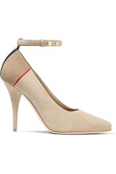 Burberry Striped Studded Suede Pumps Taupe