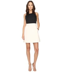Kate Spade Satin Faille Bow Back Dress Black Light Shale Women's Dress