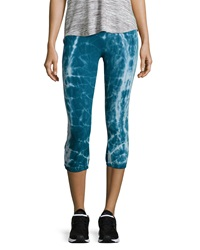 The Balance Collection Varsity Cropped Tie Dye Drawstring Leggings Ink Blue