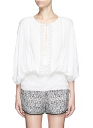 Talitha French Lace Tassel Neck Silk Kimono Top White