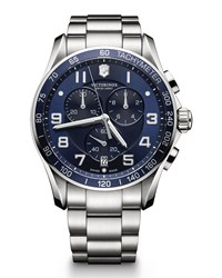 Chrono Classic Xls Stainless Chronograph Watch With Blue Dial Victorinox Swiss Army Silver
