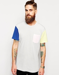 American Apparel Washed Color Block T Shirt Silver