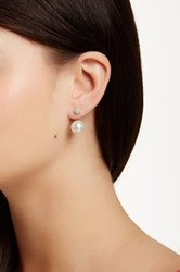 Sterling Forever Cz Cluster And Faux Pearl Jacket Earrings White